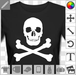 Tête de mort blanche à imprimer sur t-shirt noir pour créer un drapeau pirate original.