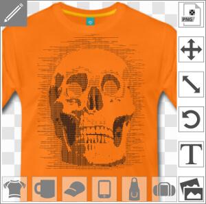 Tête de mort dessinée en art ascii. La tête de mort est composée de 0 et de 1 pour les volumes et ombres claires, avec des points clairsemés pour la t