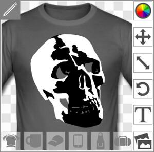 Tête de mort semi réaliste, crâne humain dessiné de trois quarts.