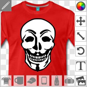 Design pirate informatique et hacking, les traits du masque de Guy Fawkes mariés à une tête de mort.
