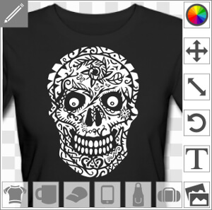 Tête de mort décorée de fleur, design négatif à imprimer sur t-shirt ou tasse sombre.