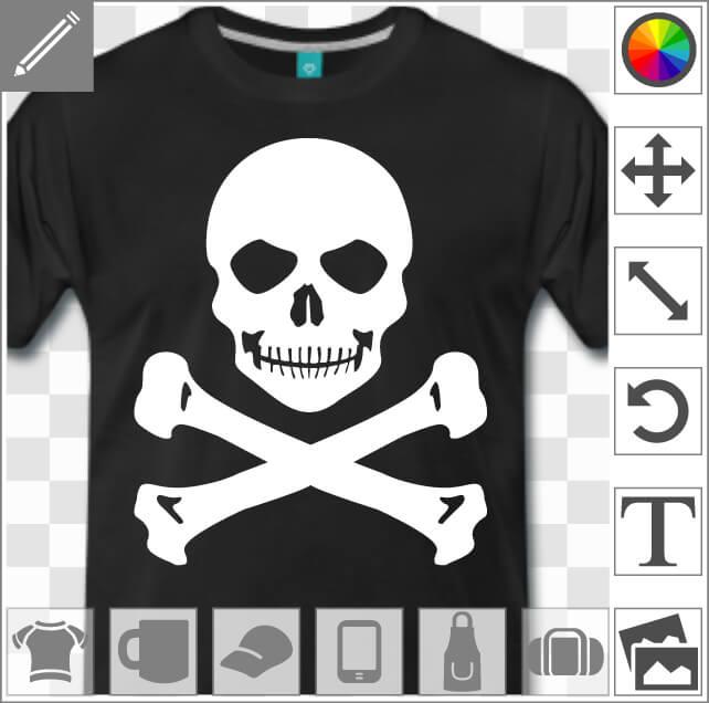 Tête de mort souriante et moqueuse à imprimer en blanc sur t-shirt noir.