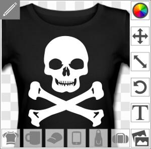 Tête de mort rieuse au menton large et carré, design vectoriel spécial impression de t-shirt à imprimer en blanc sur noir.