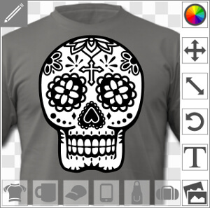 t shirt t te de mort mexicaine t te de mort mexique fleurs. Black Bedroom Furniture Sets. Home Design Ideas