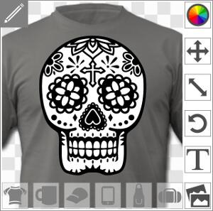 Tête de mort mexicaine fleurie, motif calavera classique 2 couleurs.