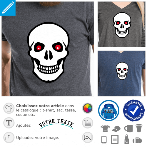 Tête de mort aux yeux rouges de braise, spéciale impression de t-shirt.