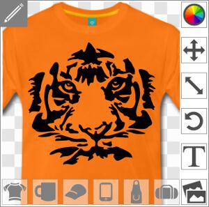 Tigre à grosses rayures, tête de félin spéciale impression en ligne.