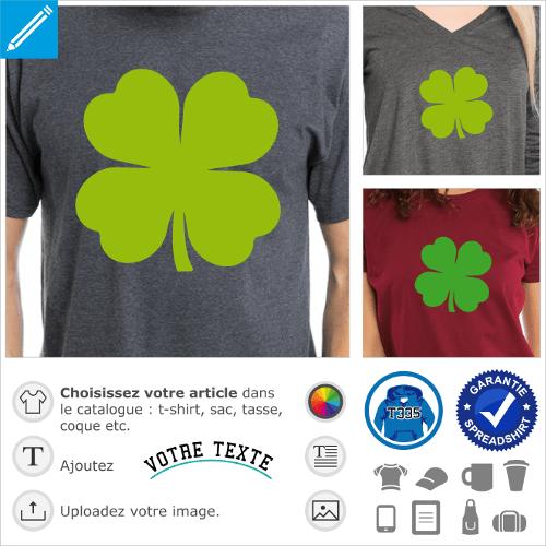 T-shirt trèfle à 4 feuilles à personnaliser et imprimer pour la Saint Patrick. Trèfle irlandais uni opaque.
