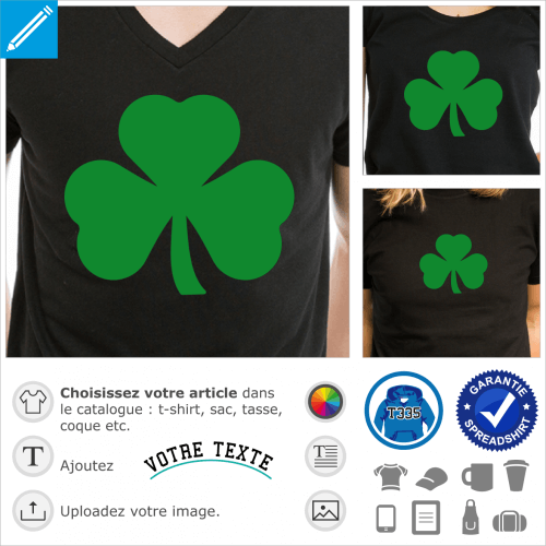 Trèfle emblème de l'Irlande, design une couleur Shamrock et Saint Patrick.