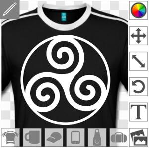 Triskele basique à trois spirales serties dans un cercle fin. Emblème de la Bretagne vectoriel à imprimer en ligne.