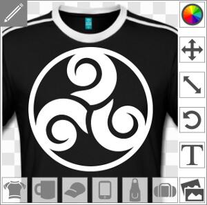 Personnaliser un t-shirt Triskel et Bretagne avec ce motif à branches épaisses entourées d'un cercle.