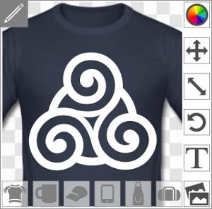 Triskele simple avec cercle central qui renforce le motif à mi course, un design celte et breton.
