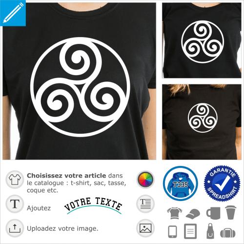 Triskele simple et contour circulaire, design celte une couleur à personnaliser.