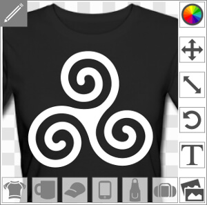 Triskel simple au tracé fin et linéaire, composé de trois spirales nouées au cœur, un design Bretagne et celte.