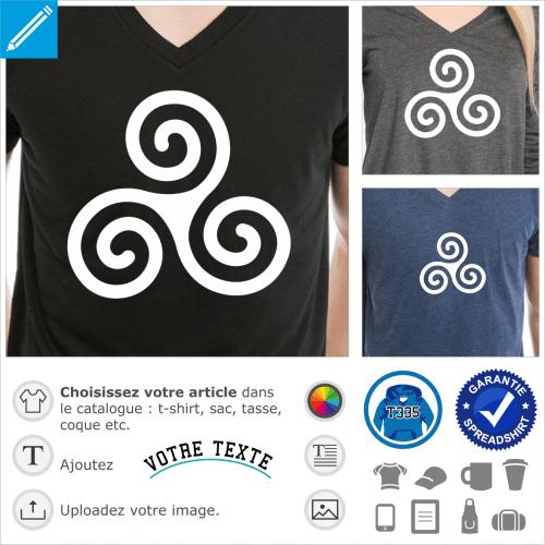 Triskell basique, triskèle breton à 3 branches spirales fines, symbole de la Bretagne en tracé vectoriel à imprimer sur t-shirt.