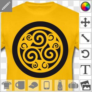 Triskell découpé sur fond plein, avec motifs et volutes décoratifs, à personnaliser en ligne.