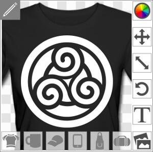 Triskell plein dessiné en inversé en découpe sur fond rond, avec un cercle central.
