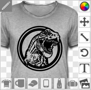 T-rex massif sortant d'un cercle, design dinosaure une couleur personnalisable.