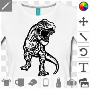 Tyrannosaurus Rex, dinosaure dessiné de face, dessin une couleur vectoriel à personnaliser.