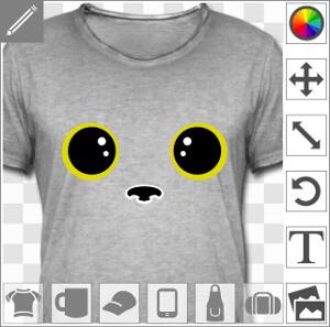 Yeux de chat kawaii stylisés, ronds et à reflet, design spécial impression en ligne.
