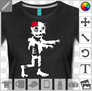Zombie bras devant chemise déchirée et cervelle apparente.