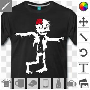 Zombie rigolo bras écarté marchant et titubant.