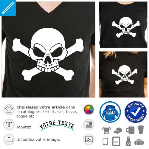 T-shirt pirate à personnaliser en ligne. Crâne stylisé sur os croisés. Tête de mort blanche à imprimer sur t-shirt noir.