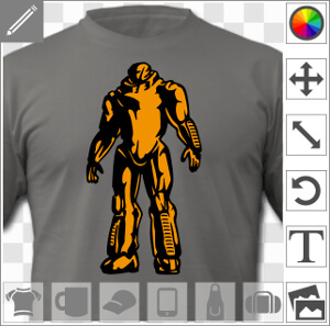 Robot geek au design futuriste, dessiné en deux couleurs avec fond opaque et contrastes très prononcés.