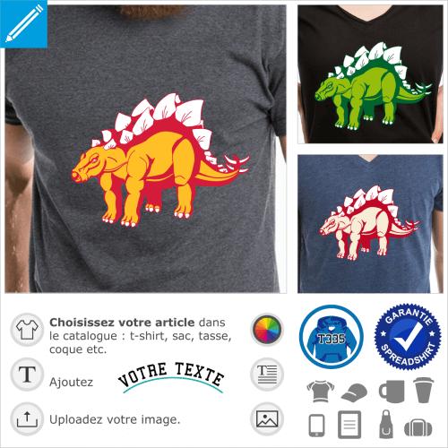T-shirt stegosaurus, dinosaure stégosaure 3 couleurs à personnaliser soi-même et imprimer en ligne.