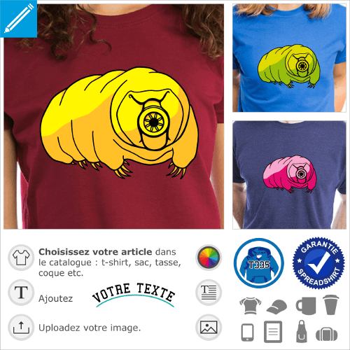 T-shirt tardigrade stylisé aux couleurs personnalisables à imprimer en ligne. T-shirt science, motif geek.