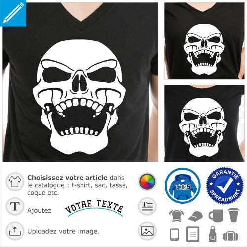T-shirt tête de mort original à personnaliser soi-même. Crâne ricanant penché vers l'arrière. T-shirt pirate.