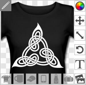 Design celtique en triangle adapté du livre de Lindisfarne, à boucles entrelacées.