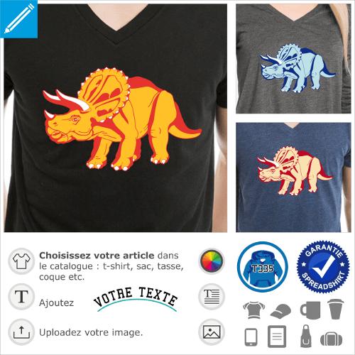T-shirt dinosaure personnalisable à imprimer en ligne. Adaptez le dessin et créez un t-shirt tricératops.
