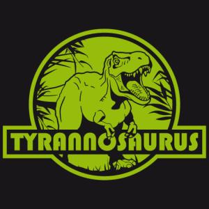T-shirt dinosaure à personnaliser soi-même. Tyrannosaurus rex découpé sur rond rouge, comme le logo de Jurassic Park.