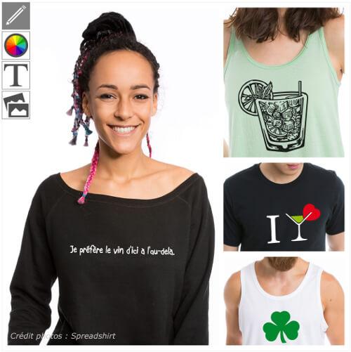 T-shirts alcool personnalisés. Créer un t-shirt apéro en ligne, imprimer un t-shirt cocktail ou une blague à boire.