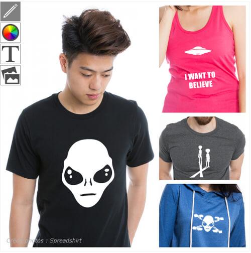 T-shirts aliens personnalisés. Portraits d'extraterrestres en format modifiable en ligne à imprimer soi-même. Créez un t-shirt alien original.