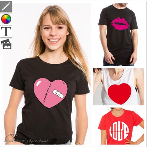 T-shirts amour et love, designs à personnaliser sur le thème du couple et cœurs etc.
