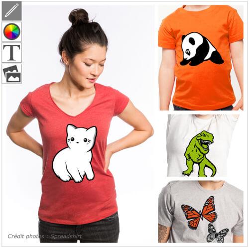 T-shirts animaux et designs à personnaliser en ligne.