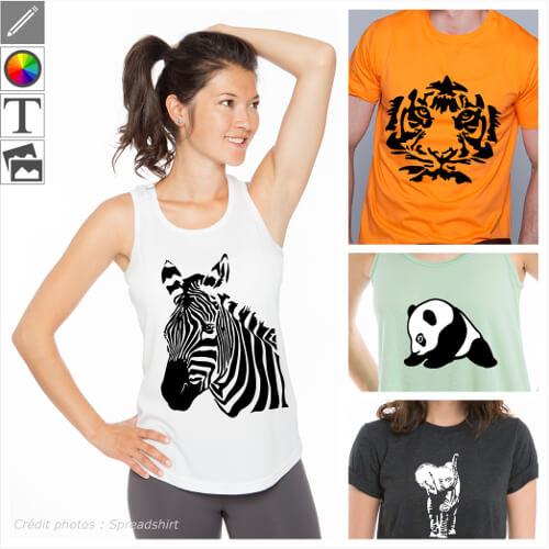 T-shirts animaux sauvages et savane à personnaliser soi-même et imprimer en ligne.