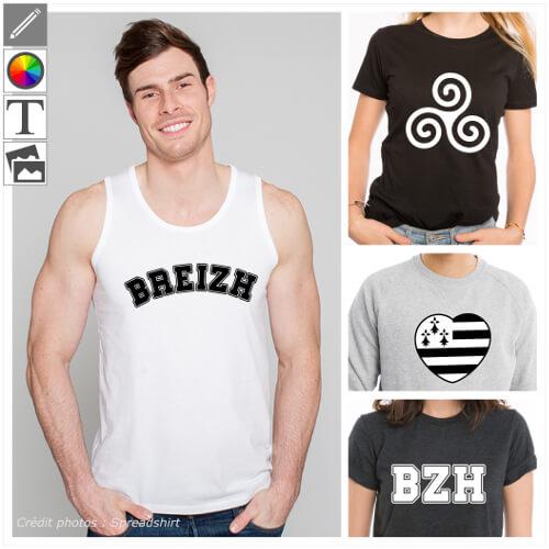 T-shirts Bretagne, designs Breizh et bzh, triskels etc.