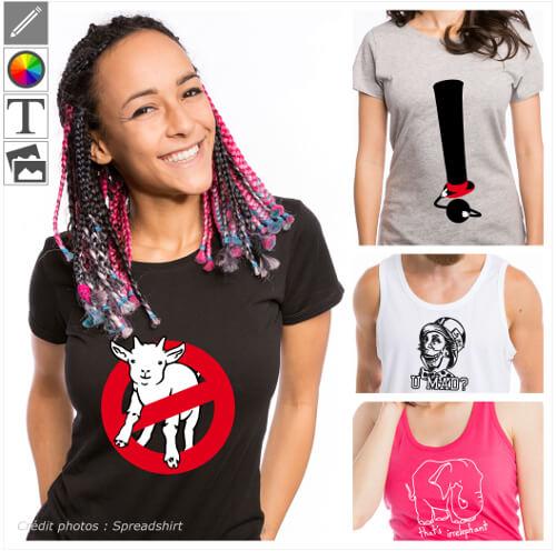 T-shirts calembours personnalisés, citations et blagues originales à personnaliser et imprimer en ligne.