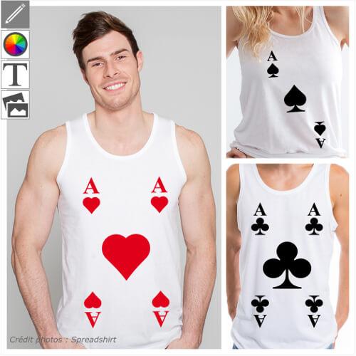 T-shirts cartes et jeux de cartes à personnaliser et imprimer en ligne. Créez votre t-shirt AS de pique cœur ou trèfle dans le designer.