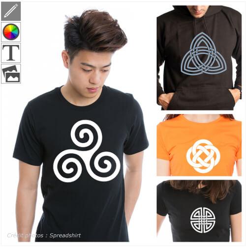 T-shirts celtiques à personnaliser, design celtes, triskels, triquetra.