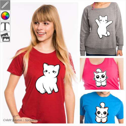 T-shirts chats personnalisés. Figures de chat, chaton, yeux de chats en style kawaii etc. Choisissez votre design et imprimez-le en ligne.