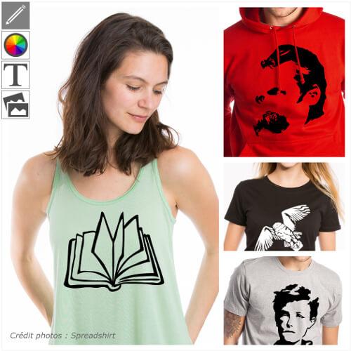 T-shirts culture à personnaliser, designs littérature, écrivais, designs culturels.
