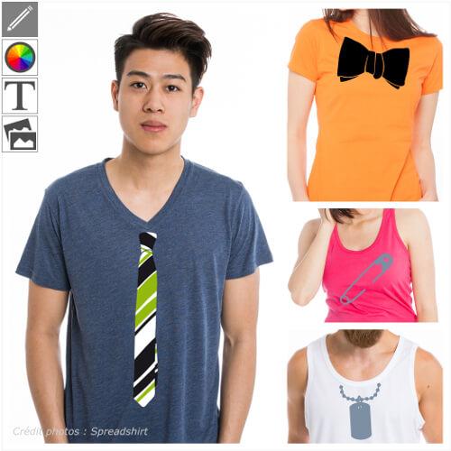 Transformez votre t-shirt en déguisement avec ces design cravate, couronne, zip.