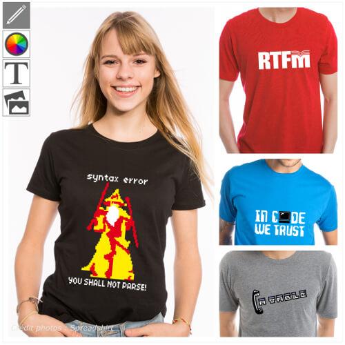 T-shirts développeur et blagues de codeur personnaliser. Créez votre t-shirt dev original en ligne en le personnalisant dans le designer.