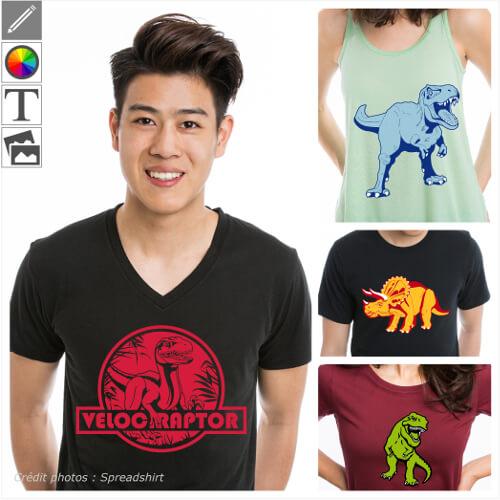 T-shirts dinosaures personnalisés. Créer votre t-shirt dinosaure original avec un dessin de t-rex en format vectoriel spécial impression en ligne.