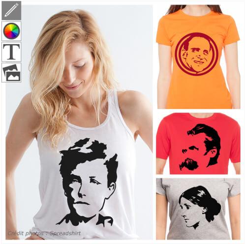 T-shirts écrivains, portraits d'auteurs à imprimer en ligne. Personnaliser votre t-shirt Rimbaud, Vian, Virginia Woolf.