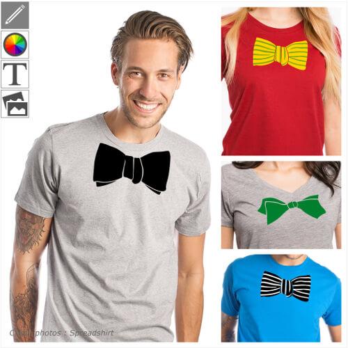 Faux nœuds papillons à personnaliser et imprimer sur t-shirt. Créez un costume rigolo en imprimant un t-shirt en ligne.